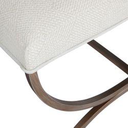 Novak Antique Gold Iron Stool -  Natural Linen