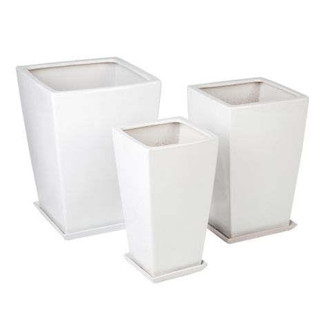 Hestia Flower Pot and Saucer - Gloss White Set of 3