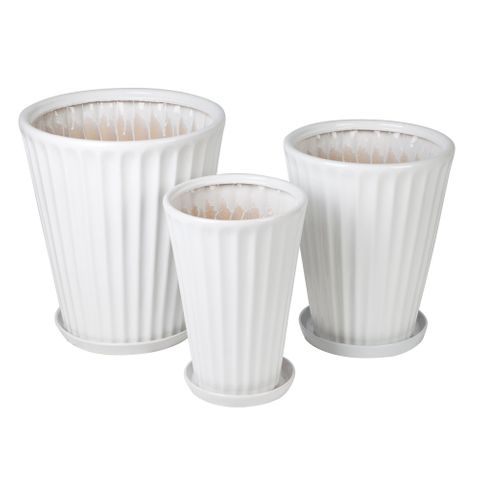 Janus Flower Pot and Saucer - Gloss White Set of 3