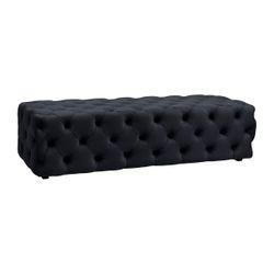 Blair Tufted Bench Ottoman - Black Velvet