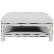 Serena Tufted Square Ottoman - Cool Grey Linen