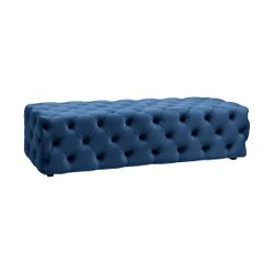 Blair Tufted Bench Ottoman - Navy Velvet