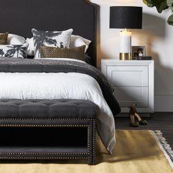 Serena Tufted Bench Ottoman - Black Linen
