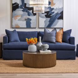 Birkshire 3 Seater Slip Cover Sofa - Navy Linen