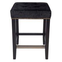 Canyon Oak Kitchen Stool - Black Frame w Black Leather