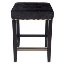 Canyon Black Oak Kitchen Stool - Black Suede