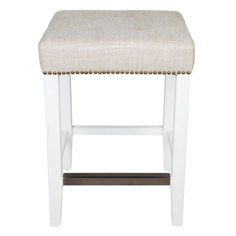 Canyon White Oak Kitchen Stool - Natural Linen