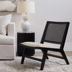 Palmer Rattan Black Occasional Chair - Natural Linen