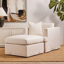 Birkshire Slip Cover Ottoman - White Linen