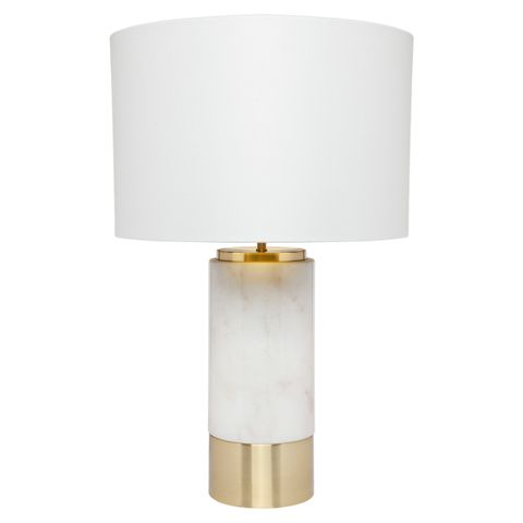 Paola Marble Table Lamp - White w White Shade