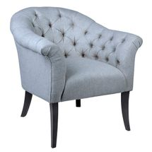 Georgina Button Tufted Occasional Chair - Grey Linen