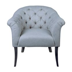 Georgina Button Tufted Occasional Chair - Grey Linen
