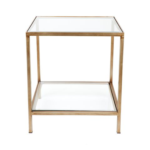 Cocktail Glass Square Side Table - Antique Gold