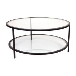 Cocktail Glass Round Coffee Table - Black