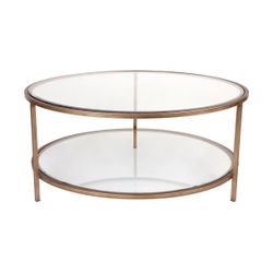 Cocktail Glass Round Coffee Table - Antique Gold