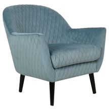 Joy Joy Quilted Occasional Chair - Duck Egg Blue Velvet