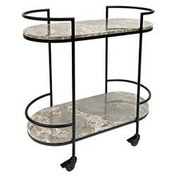 Southside Grey Marble Bar Cart - Black