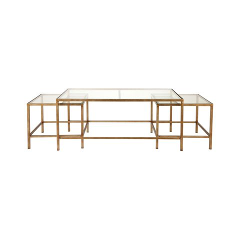 Cocktail Glass Nesting Coffee Table - Antique Gold
