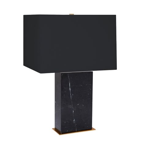 Dominique Marble Table Lamp - Black w Black Shade