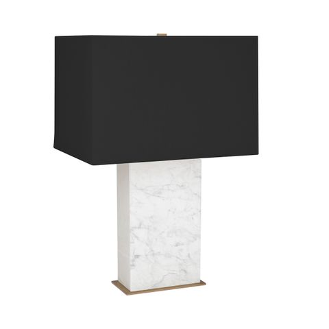 Dominique Marble Table Lamp - White w Black Shade