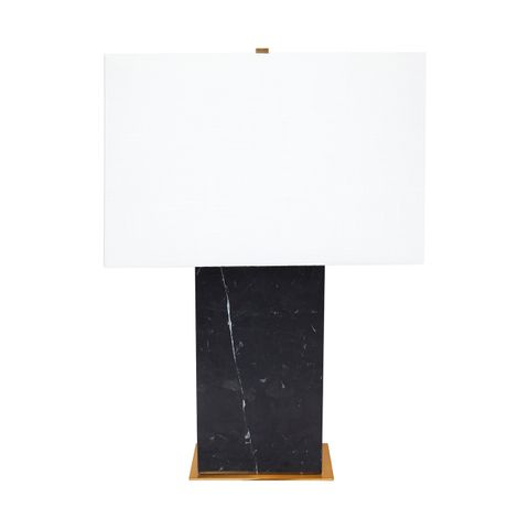 Dominique Marble Table Lamp - Black w White Shade