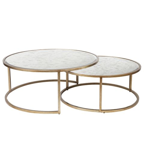 Serene Nesting Coffee Tables - Antique Gold
