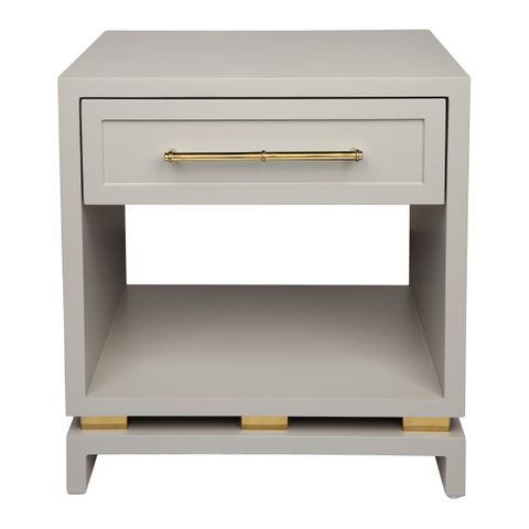 Pearl Bedside Table - Small Grey