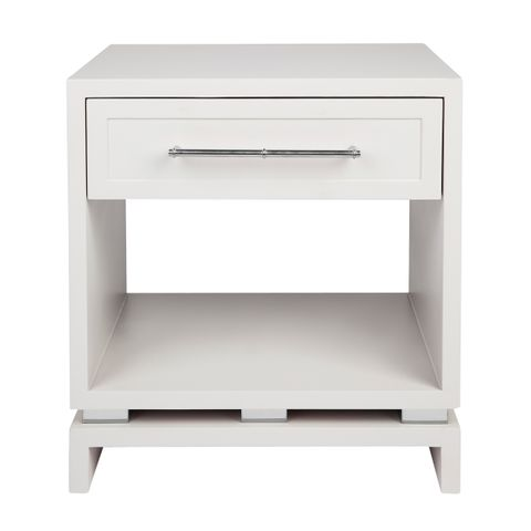 Pearl Bedside Table - Small White