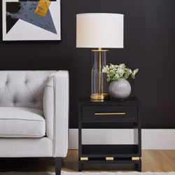 Pearl Bedside Table - Small Black