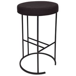Blackley Black Iron Kitchen Stool - Black Linen