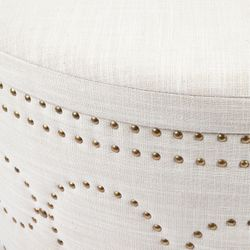 Bradshaw Round Storage Ottoman - Natural Linen