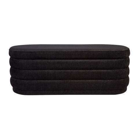 Twirl Panelled Bench Ottoman - Black Chenille