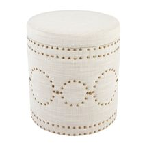 Bradshaw Round Storage Stool - Natural Linen
