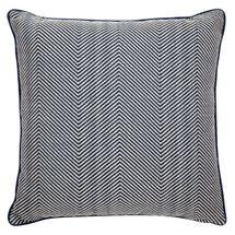 Candace Square Feather Cushion - Chevron Blue Linen