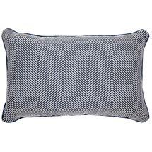 Candace Rectangle Feather Cushion - Chevron Blue Linen