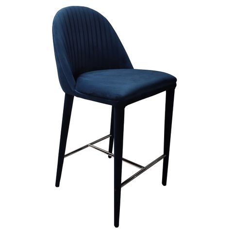 Dante Panelled Kitchen Stool - Navy Velvet