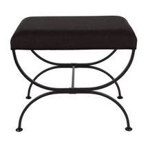Novak Black Iron Stool - Black Linen