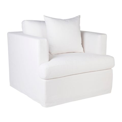 Birkshire Slip Cover Occasional Arm Chair - White Linen