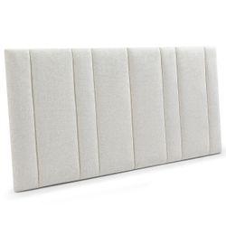 Bronx Panelled Queen Bedhead - Natural Linen