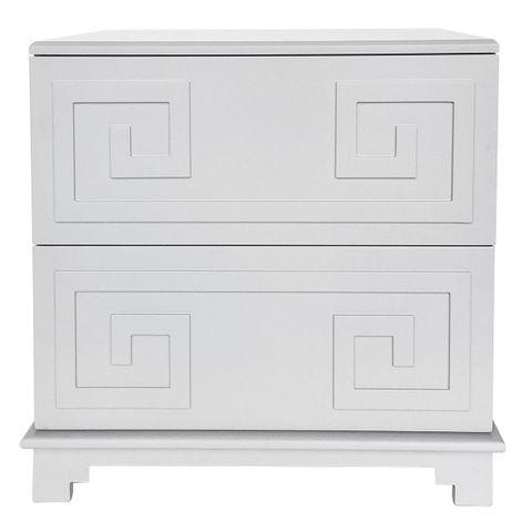 Greek Key Bedside Table - Grey