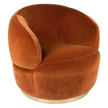 Tubby Swivel Occasional Chair - Caramel Velvet