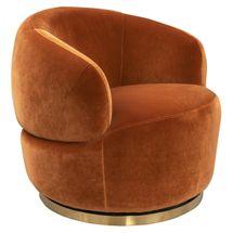Tubby Swivel Occasional Chair - Caramel Velvet