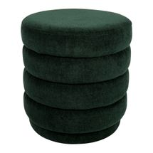 Twirl Panelled Stool - Forest Green Chenille