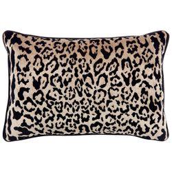 Serene Rectangle Feather Cushion - Leopard Chenille w Black Velvet