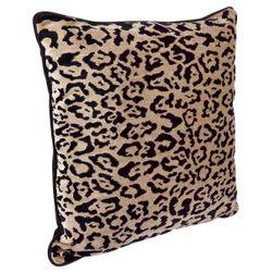 Serene Square Feather Cushion - Leopard Chenille w Black Velvet