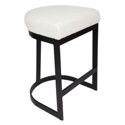 Brooke Black Kitchen Stool - Natural Linen
