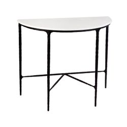 Heston Marble Demilune Table - Black