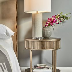 Arielle Oval Bedside Table - Antique Gold