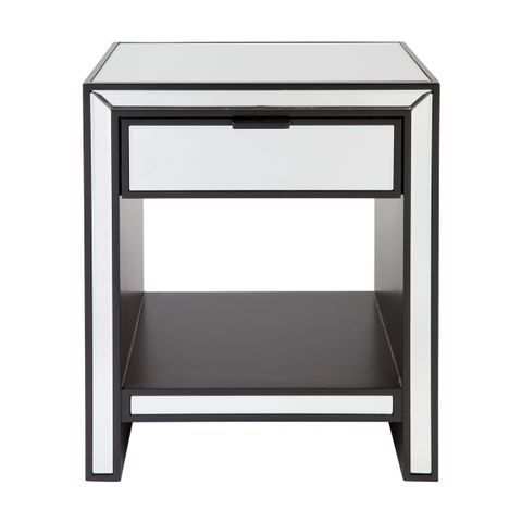 Sabrina Mirrored Bedside Table - Small Black