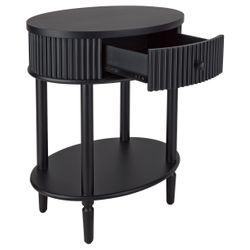 Arielle Oval Bedside Table - Black